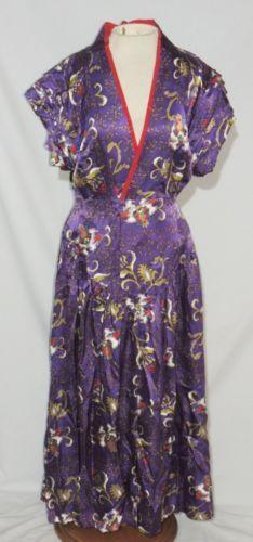 Akemi Sone Purple Silk Print Dress NOWT w 28 1 2 | eBay