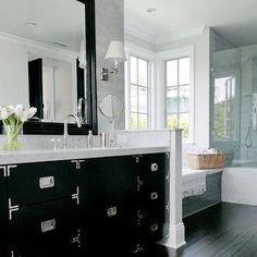 Dark wood floors in bathroom