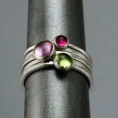 Silver and Gemstone Stacking Rings Pink and by bespokenjewelry, $115.00