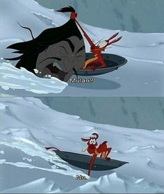 In Mulan, when Mushu accidentally found a Hun in the avalanche: 50 Forgotten Disney Moments That'll Make You Laugh Every Time Walt Disney, Disney Pixar, Disney And Dreamworks, Funny Disney Memes, Disney Jokes, Disney Funny Moments, Princesa Mulan, Disney Magie, Film D'animation