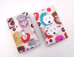 Cool Light Switch Plate and Outlet Cover SET of Hedgehog Meadow Baby Nursery