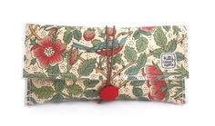 Button Clutch - Liberty of London Birds vintage fabric - Strawberry thief - William Morris