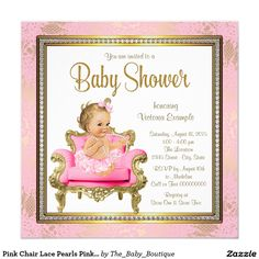 Pink Chair Lace Pearls Pink Gold Baby Shower Invitation