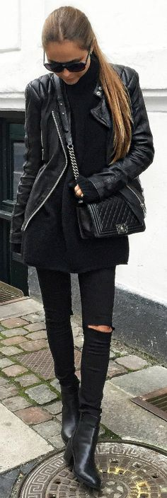 Think all black, think rocker girl. We recommend sticking to darker colours if you want to get the ultimate rock chick feel. Via Maria Kragmann. Jeans: Asos.