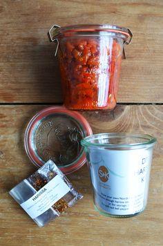 Homemade Harissa Hot Sauce Kit.  Side note: I really love that jar.