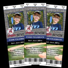 BASEBALL Invitation Ticket Football Basketball Sports Birthday Invite Personalized Photo Custom card Printable. $14.98