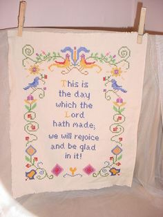 Vintage Cross stitch Sampler w Blue Birds This is the day that Lord hath made Seller florasgarden on ebay