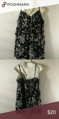 NWOT * Tunic Top * Plus Size Beautiful * Black Floral * Adjustable Straps * Lined (Still Sheer) * Polyester * Bundle and Save * Torrid Tops