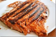 GRILLED SALMON WITH BROWN SUGAR AND SOY SAUCE -- salmon garlic, salt, soy sauce, water, brown sugar, olive oil