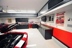 Clean White Garage Coating Ideas With Red Theme