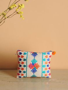 Multicolored Cotton Phulkari Pouch with Pom-pom Phulkari Embroidery, Embroidery On Kurtis, Kurti Embroidery Design, Embroidery Works, Embroidery Bags, Embroidery Motifs, Indian Embroidery, Hand Embroidery Designs, Diy Cushion Covers