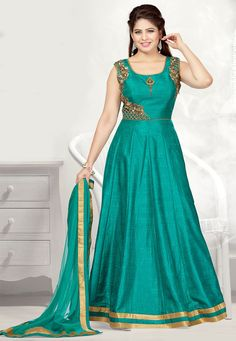 Readymade Art Silk Abaya Style Suit in Teal Green This attire with Cotton Lining is Prettified with Cutwork, Broach, Zari, Stone and Bullion Work Available with a Teal Green Art Silk Churidar and a Teal Green Net Dupatta and Separate Short Sleeve for Your Customization The Kameez and Bottom Lengths are 55 and 48 inches respectively Do note: The Length may vary upto 2 inches. Accessories shown in the image are for presentation purposes only.(Slight variation in actual color vs. image is…