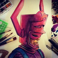 Galactus Watercolor on Behance #watercolor #anthonypetrie #illustration #art #ink #drawing #painting #marvel #comics