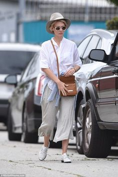 Chill: January Jones looked cools as she stepped out dressed for summer in LA on Thursday