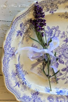 Aiken House & Gardens: Christmas Transferware Vignette with lavender from the garden