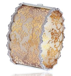 Bapalal Keshavlal lacy 18k rose gold bangle with 18k white gold edges and diamond accents