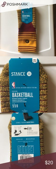Men's Stance NBA fusion socks. sizes S3-5.5 L9-12 Stance NBA fusion for the Cleveland cavaliers. Colors match their uniforms. Have two different sizes S(3-5.5) and L(9-12). These socks are very durable and very warm. Stance Underwear & Socks Athletic Socks