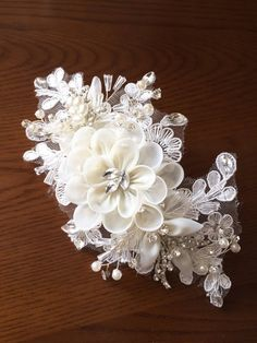 Exquisite Rhinestone Beaded Bridal Lace Applique in Champagne Rosette for Wedding Sash Bridal Hair Flower Boutique Beach Wedding Headpieces, Headpiece Wedding, Bridal Headpieces, Wedding Sash, Bridal Sash, Wedding Veils, Bridal Hair Flowers, Flower Headpiece, Zardosi Embroidery