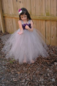 Gray Wedding - Flower Girl Tutu Dress with Flower Trim