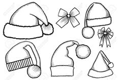 Set of monochrome doodle hats boots, socks Santa Claus. Template Christmas hat for design, decorating cards and collages. Christmas Hat, Christmas Design, Christmas Colors, Christmas Cookies, Card Sketches, Drawing Sketches, Drawings, Sketching, Santa Socks