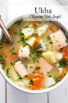 Ukha, Russian fish soup, is delicious and comforting. Fish is gently cooked with potatoes and carrots in a rich broth seasoned with bay and black pepper. Fish Recipes, Seafood Recipes, Seafood Dishes, Chicken Recipes, Dinner Recipes, Healthy Soup, Healthy Recipes, Beet Recipes, Curry Recipes