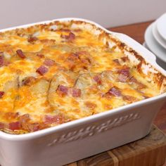 This easy dinner idea bakes all of the flavors of a loaded potato stuffed with melted cheese, bacon, and green onions into a casserole that everyone can share.