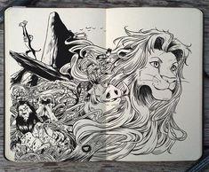 "Gabriel Picolo draws simply stunning ""doodles"", including these gorgeous Disney drawings. Disney Kunst, Arte Disney, Disney Fan Art, Art Sketches, Art Drawings, Gabriel Picolo, Lion King Drawings, Le Roi Lion, Chef D Oeuvre"