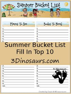 Free Summer Bucket List: Top 10  Places To See, Books To Read, Crafts To Do, & Activities To Try - 3Dinosaurs.com