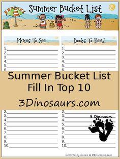 Free Summer Bucket List - 3Dinosaurs.com . #smartsummer