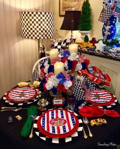 The Sunday before Memorial Day is always a day I spend in front of the TV watching motorsports. The day always starts with breakfast watch. Party Themes, Party Ideas, 4th Of July Wreath, Memorial Day, Tablescapes, Monster Trucks, Gift Wrapping, Plates