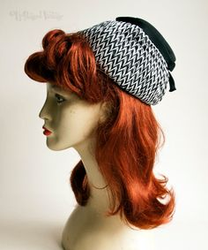 Vintage Original 1950s Black & White Raffia Cocktail Hat Bonnet by UpStagedVintage on Etsy
