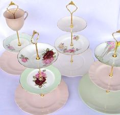 How to make a Vintage 3 Tier Cup Cake Stand DIY kit Instructions Drill Bit Gold Heavy Crown Handle Fitting Hardware Casas Shabby Chic, Estilo Shabby Chic, Tiered Cake Stands, Tiered Stand, Cupcake Stands, Cake Stands Diy, Cupcake Display, Wedding Cake Stands, Wedding Cupcakes