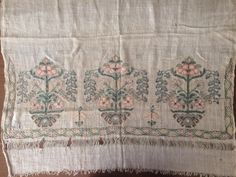 """19TH ANTIQUE OTTOMAN-TURKISH SILK & METALLIC HAND EMBROIDERY ON LINEN PANEL 80cm - $275.00. You are viewing an attractive example of embroidery. I'm offering a lovely """"towel'' fragment Origin: Turkey Example from the:19th cColourway of the fabric : ecru It is a hand loomed linen fabric.silk and silver-gilt tinsel on linen;The embroidery technique counted stitches neat and worked reversible,not distinguishing between front and back.Measurements Motif size: 30cm in height 8..."""