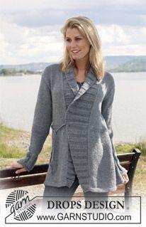 "DROPS jacket with tie-strings in 2 threads ""Alpaca"". Size S - XXXL. ~ DROPS Design"