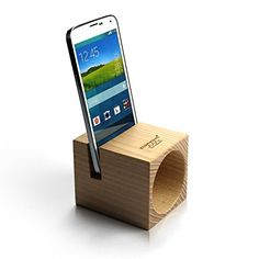 Ecophonic - Altavoz ecológico, modelo UNO Universal, fabricado en castaño compatible con la mayoría de smartphones Small Wood Projects, Cnc Projects, Support Iphone, Wood Crafts, Diy And Crafts, Wooden Speakers, Iphone Stand, Dremel, Phone Holder