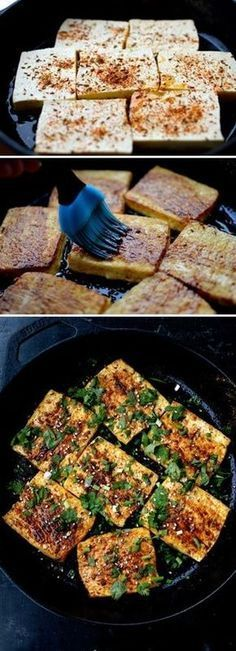 Spicy Griddled Tofu Steaks #koreanfoodrecipes