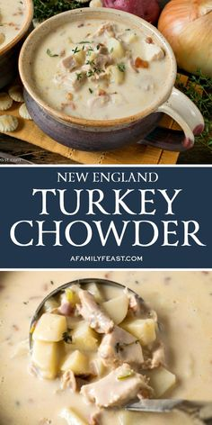 Make this delicious New England Turkey Chowder with leftover turkey after Thanksgiving. Make this delicious New England Turkey Chowder with leftover turkey after Thanksgiving. Clam Chowder Recipes, Soup Recipes, Dinner Recipes, Cooking Recipes, Seafood Recipes, Sausage Recipes, Easy Cooking, Easy Recipes, Chicken Recipes