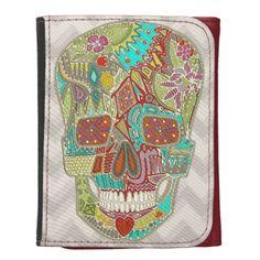 flower skull leather wallet #zazzle #wallet #scrummy #skull #flower