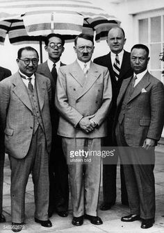 Hitler and the Finance Minister of Republic of China Dr Kung Hsiang-hsi (孔祥熙 1881–1967) on the Terrassedes, Berghof in the Obersalzberg of the Bavarian Alps near Berchtesgaden, 13 Jun 1937. Also Dr. Paul Otto Schmidt, chief interpreter of the Foreign Ministry, and the Navy Minister Admiral Chen Shao-kuan (陳紹寬 1889-1969) at Hitler's left. The man behind Kung likely to be Cheng Tien-fong (程天放 1899-1967, the Chinese ambassador to Berlin 1935-38) .  Hitler told Kung he could mediate the dispute…