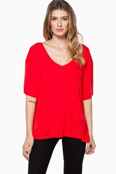 ShopSosie Style : Cozy Short Sleeve Double V Neck Tee in Red by Piko
