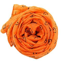 Womens Long Cotton Scarf Shawl Solid Color Heart Print Scarf Oblong Orange. Popular solid color scarf. A perfect alternative to a necklace. The colors will coordinate with many outfits. Soft touch, very comfortable with the scarf on your neck. 65 inches by 25 inches, crinkle texture, 100% Polyester. Standard shipping time 7-15 days; expedited shipping 3-5 days. Refresh your look with a light solid color scarf.