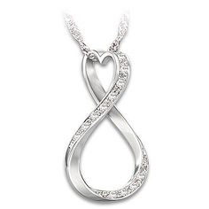 Forever My Granddaughter Diamond Sterling Silver Infinity Pendant Necklace