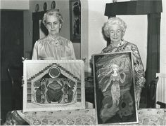 Their creative talents were abundant. Jo: leatherwork, glove making, silversmithing, gardening, embroidery... My mother: dressmaking, painting, embroidery... In this news pic, they hold award-winning appliqued works. Jo was in her Egyptian phase ( a scarab beetle) and my mother, mermaids...
