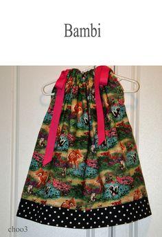 Bambi pillowcase dress for winter forest theme.