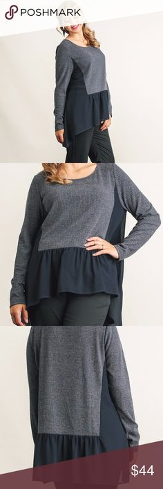 "Plus--Jassi High Low Top Long Sleeve Mixed Fabric Top with High Low Hemline--charcoal. Model is 5'9"" wearing an XL. Tops"
