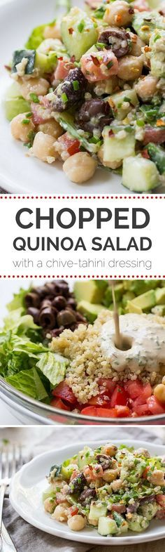 This AMAZING Chopped Quinoa Salad is made with fresh veggies, olives and chickpeas, and is tossed with a creamy Chive-Tahini Dressing | recipe on http://simplyquinoa.com