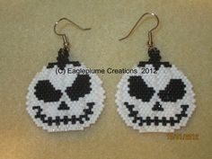 Halloween White Jackolantern earrings by EagleplumeCreations, $16.99