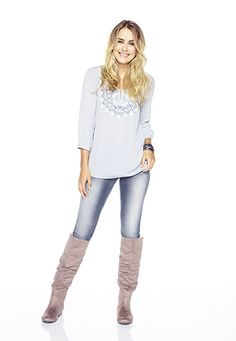gray embroidered henley peasant top - maurices.com
