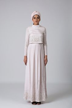 Women Maxi dress with cropped torso and high neck - IMAIMA