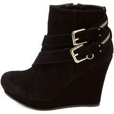 Charlotte Russe Black Bamboo Zipper-Belted Platform Wedge Booties by... ($9.99) ❤ liked on Polyvore featuring shoes, boots, ankle booties, heels, wedges, ankle boots, black, wedge ankle boots, wedge bootie and low wedge booties
